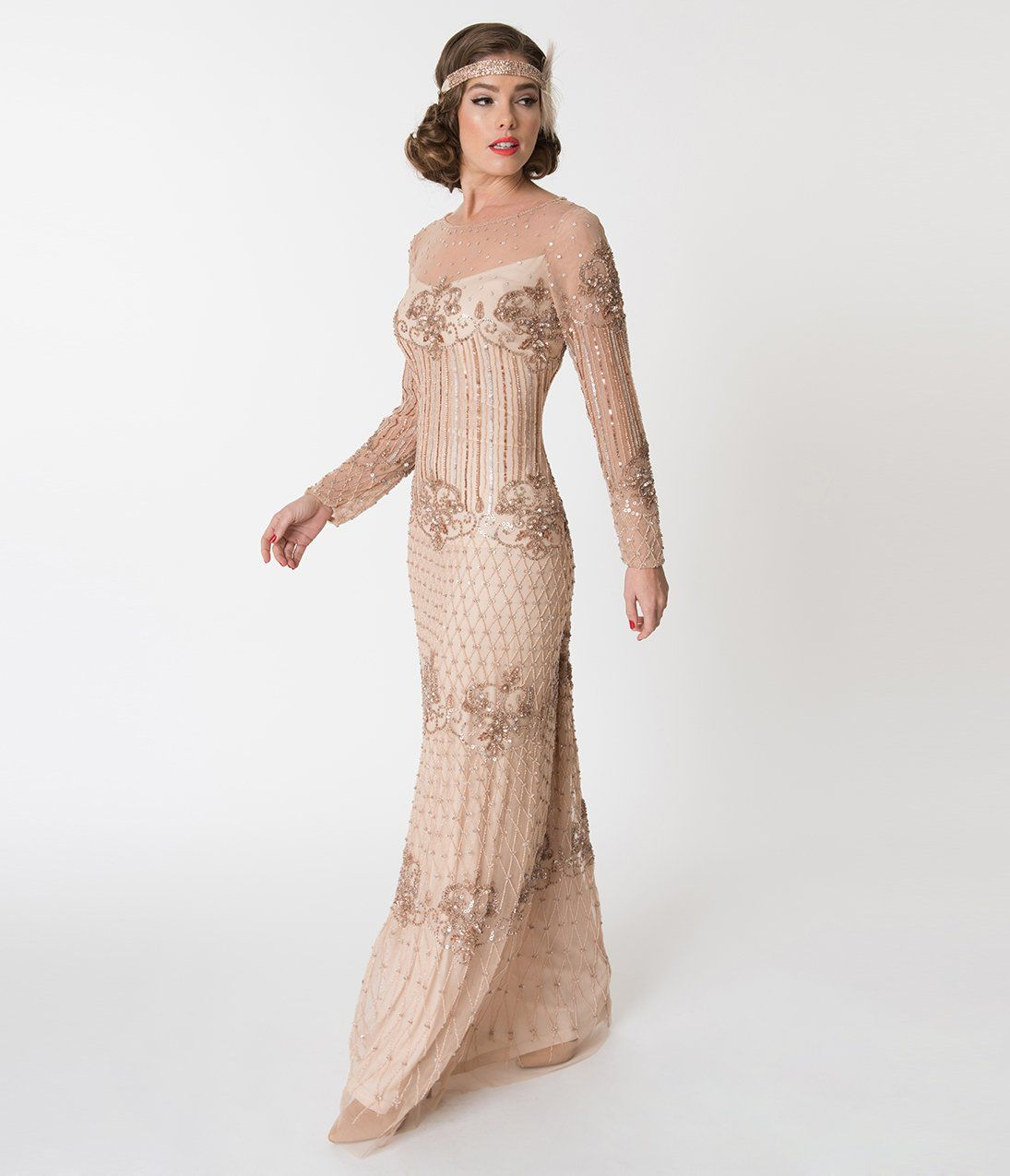 e48c31dc98 1920s Party Dresses, Great Gatsby Gowns, Prom Dresses Blush Pink Embellished  Mesh Long Sleeve Dolores Flapper Dress $218.00 AT vintagedancer.com