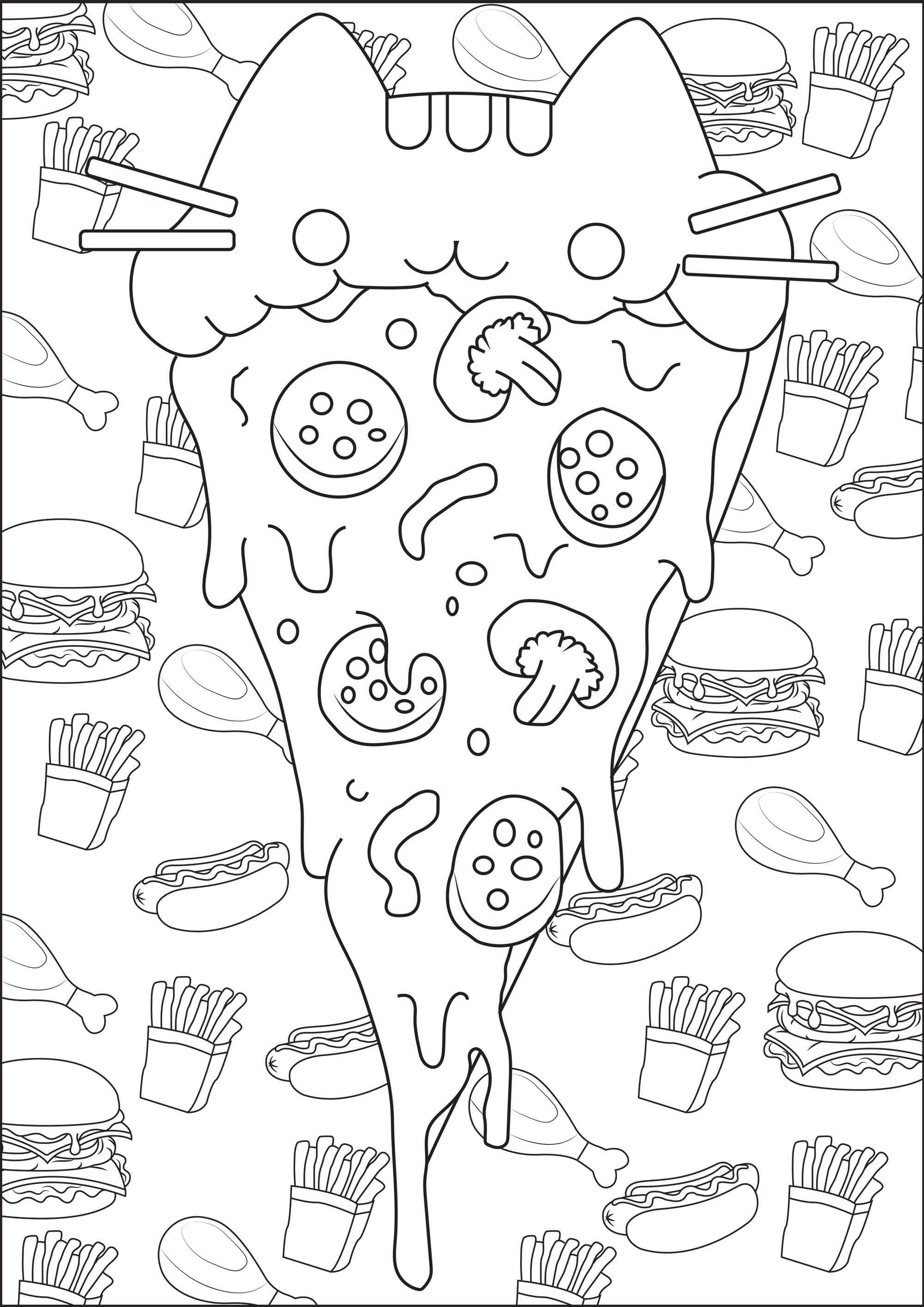 pizza pusheen color this pusheen pizza with a background full of junk food stuffs from the gallery doodling doodle art artist lucie