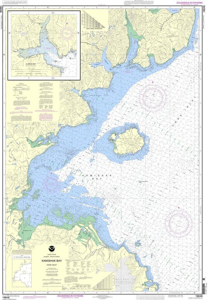 NOAA Nautical Chart 16648 Kamishak Bay;lliamna Bay Maps - NOAA