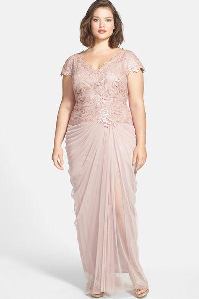 Tadashi Shoji Sequin & Tulle V-Neck Gown Plus Size Blush Rose Pink ...
