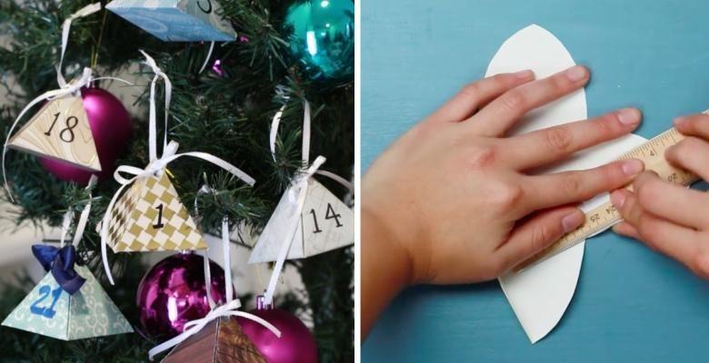 Un patron gratuit pour fabriquer un calendrier de l'Avent à suspendre dans le sapin de Noël! #calendrierdelaventfaitmaisonfacile