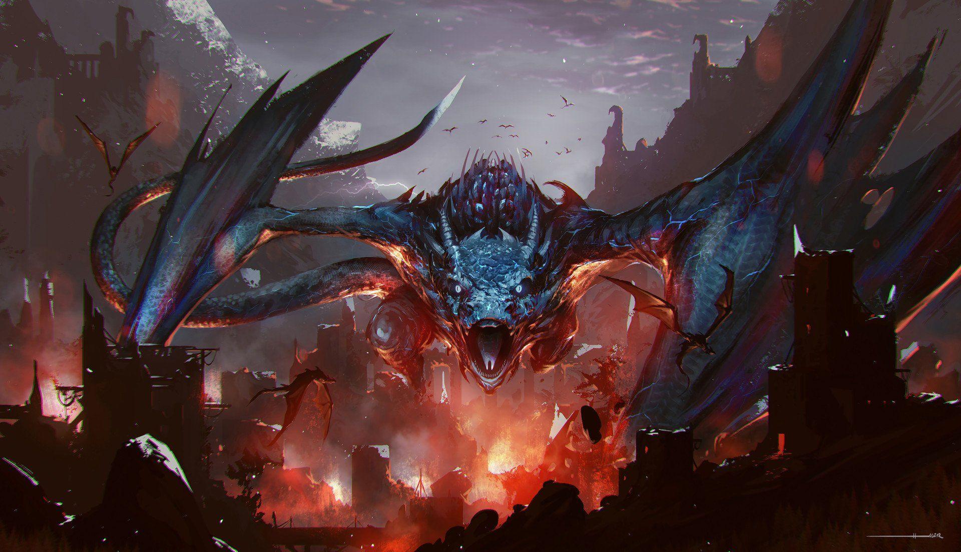 Fantasy Dragon City Ruin Fire Wallpaper Fantasy Artwork Shadow Of The Colossus Fantasy