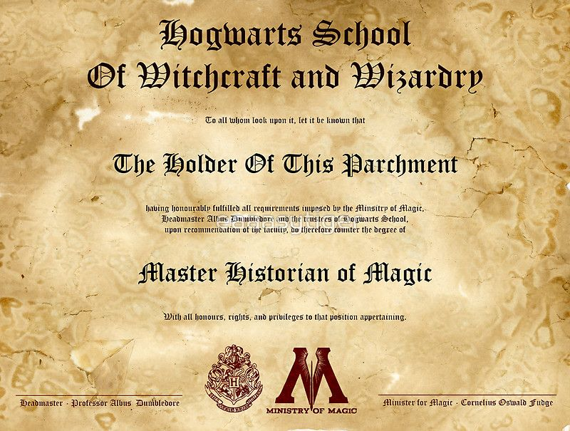 Official Hogwarts Diploma Poster History Of Magic By Eaaasytiger