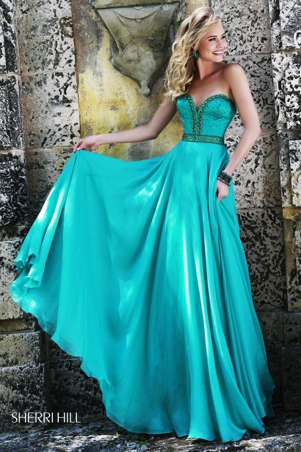 Emerald Beaded Sherri Hill 32071 Strapless Open Back Long Prom Dress Outlet