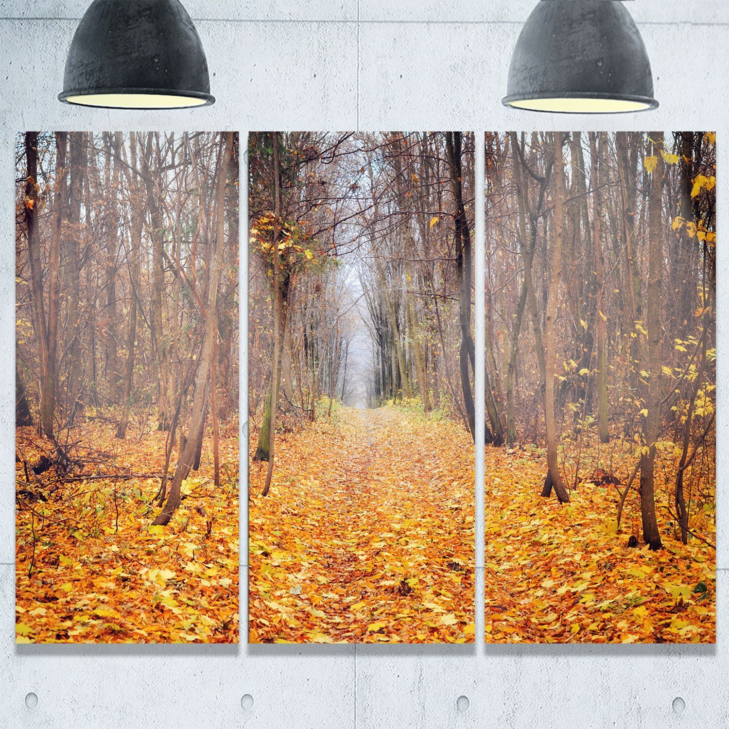 Designart fallen leaves in morning landscape photo glossy metal