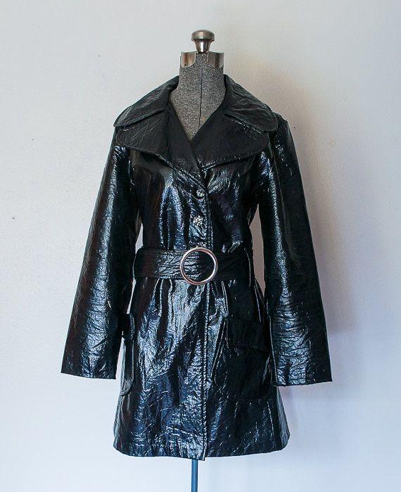 444061c56 Vintage 1960s Trench Coat - Black Patent Leather Vinyl Mod 60s Coat ...
