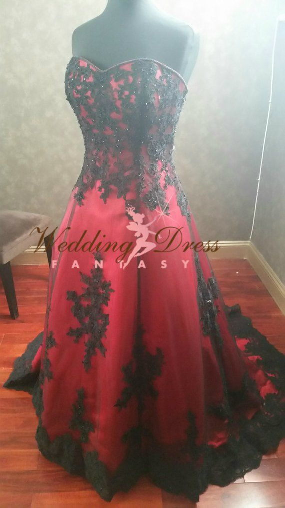 Gorgeous Red And Black Wedding Dress Sweetheart Neckline In 2019