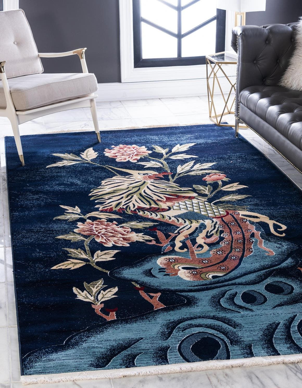 Navy Blue 4 X 6 Pao Tou Rug Esalerugs In 2020 Unique Loom Area Rugs Rugs