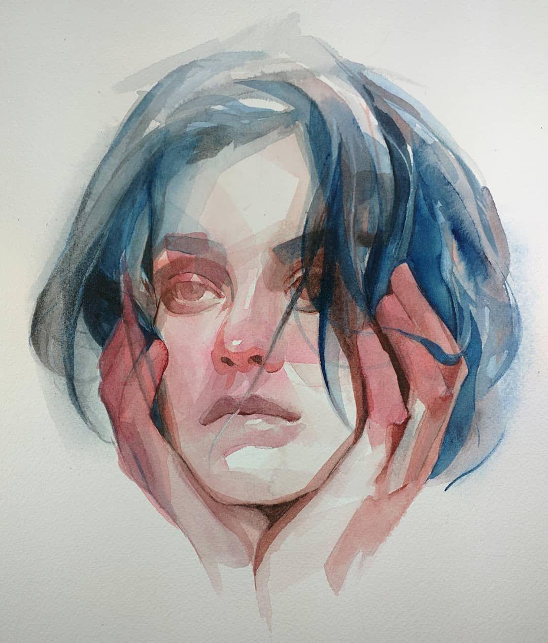Ig Nickvrunge Watcher Watercolor 9x12 Watercolor Art