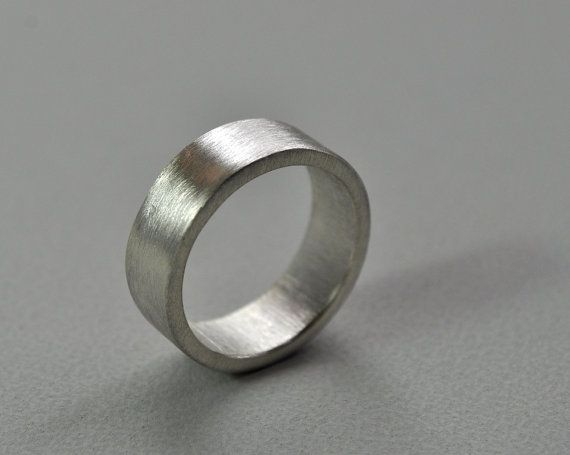 A Chunky Heavy Handmade Sterling Silver Wedding Band With Brushed Matte Finish