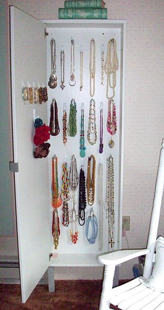 Best Jewelry Closet EVER Command hooks Jewelry storage and Ikea hack