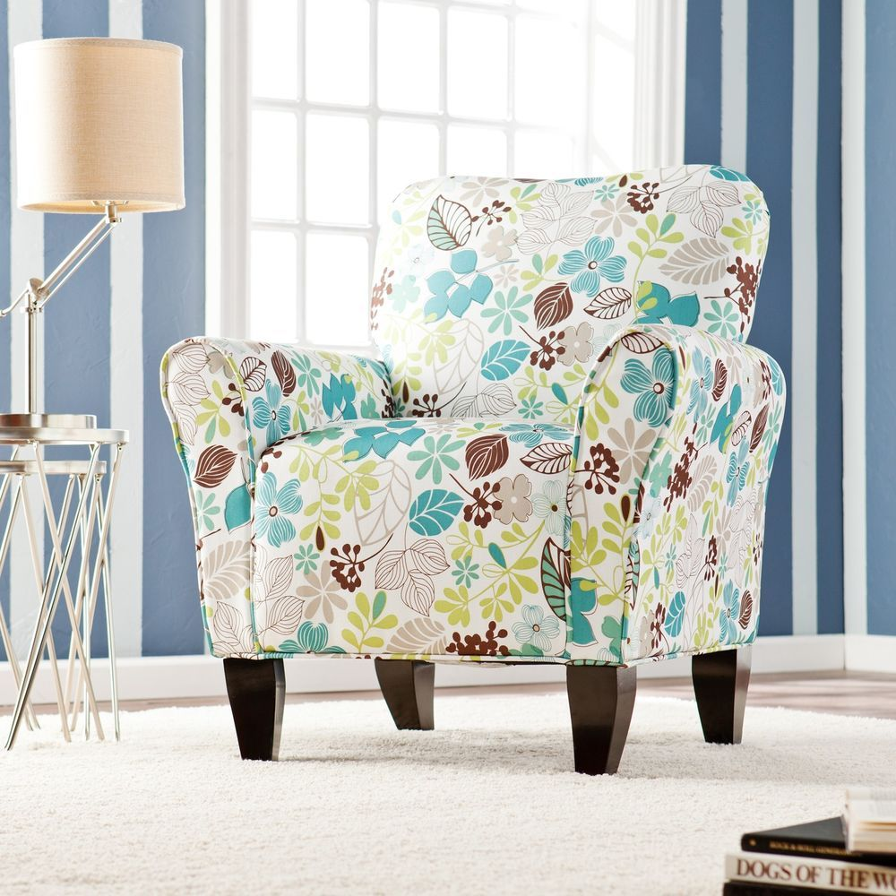 Upholstered Arm Chair Teal Floral Transitional Accent Living Room ...