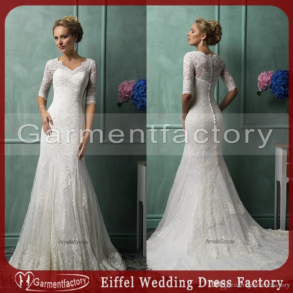 96da0e0c53 Vintage 2014 Wedding Dresses Scalloped Small V Neck Mermaid Court ...