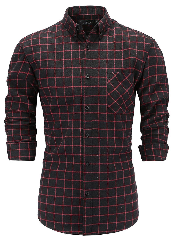Men S 100 Flannel Cotton Slim Fit Long Sleeve Button Down Plaid Dress Shirt Black Red Cz18065kixe Black Shirt Dress Plaid Dress Shirt Trendy Shirts [ 1500 x 1071 Pixel ]