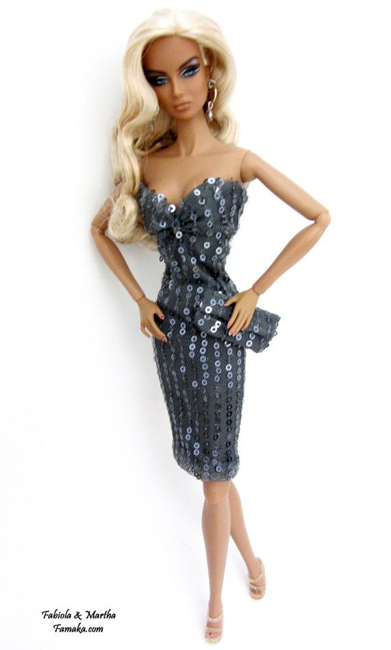 Grey Sequin Dress For Fashion Royalty and Silkstone Barbie