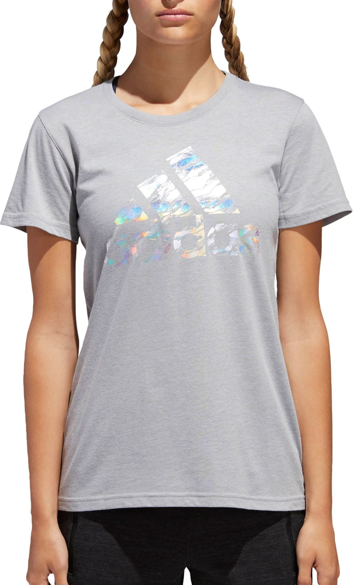 ec7cdbaeeaa0 adidas Women's Camo Badge Of Sport Logo Graphic T-Shirt, Size: Medium, Gray