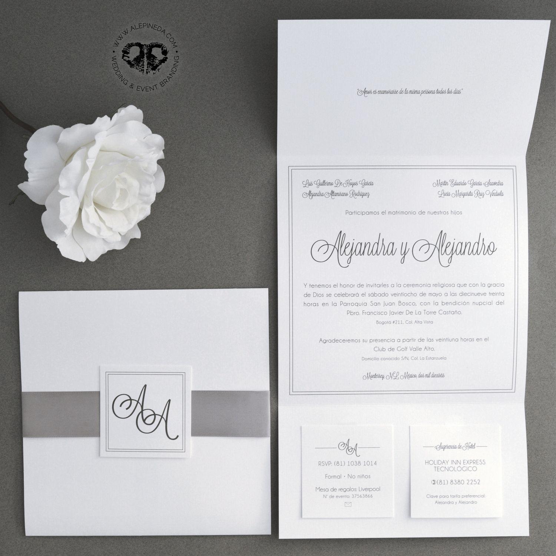 Square elegant classy simple modern wedding invitation & RSVP cards ...