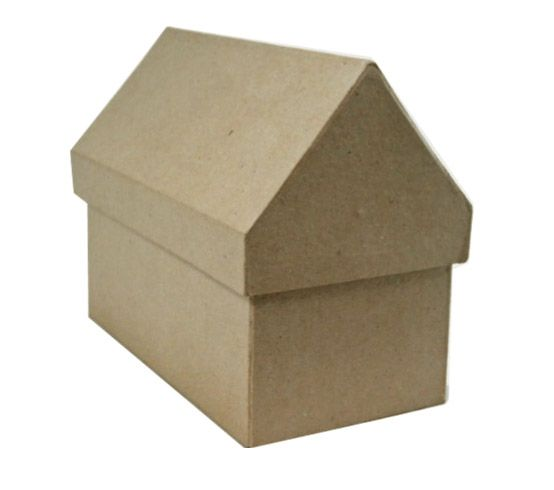 Cardboard Craft Boxes To Decorate Paper Mache House Box 4 X 7 X 6  Paper Mache Box And Cardboard