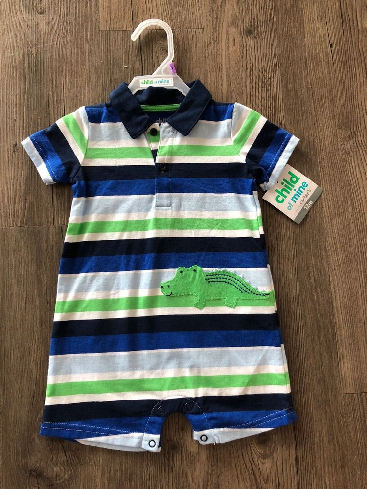 fedc9f79 child of mine baby boy Blue And Green Strip Polo One Piece 12 Months ...