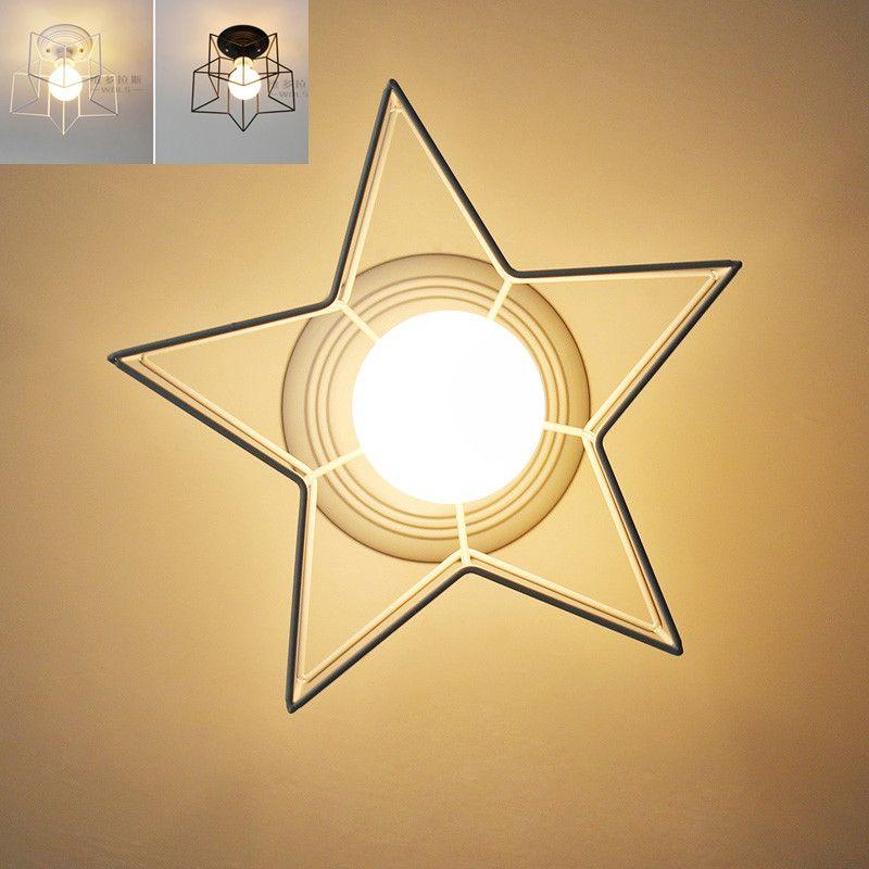 Mini Star Ceiling Lamp For Kids Bedroom Hallway White Black Qj