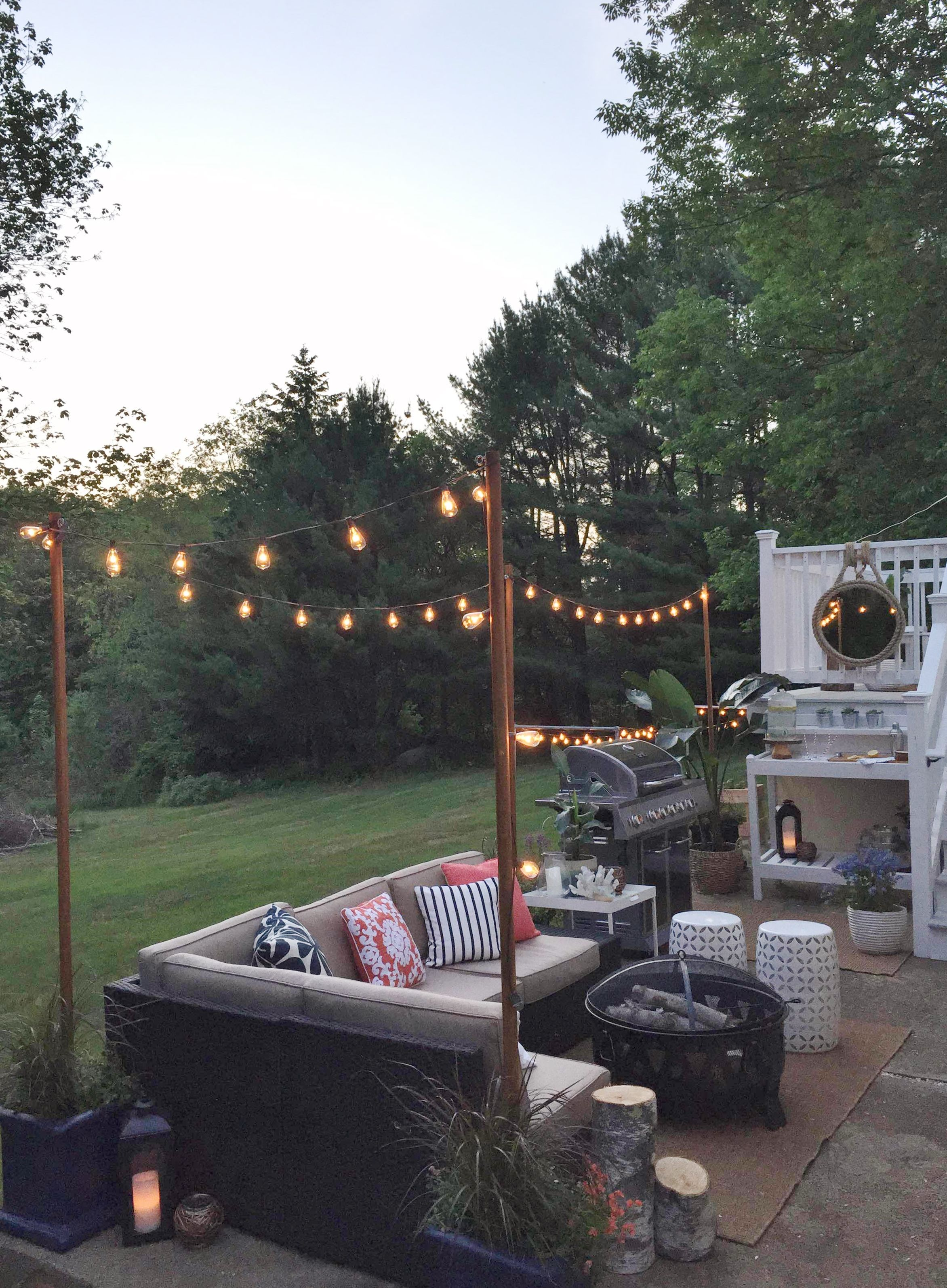 Loweu0027s Spring Makeover Reveal DIY Lights At Night · Hanging LightsString  LightsPatio ...