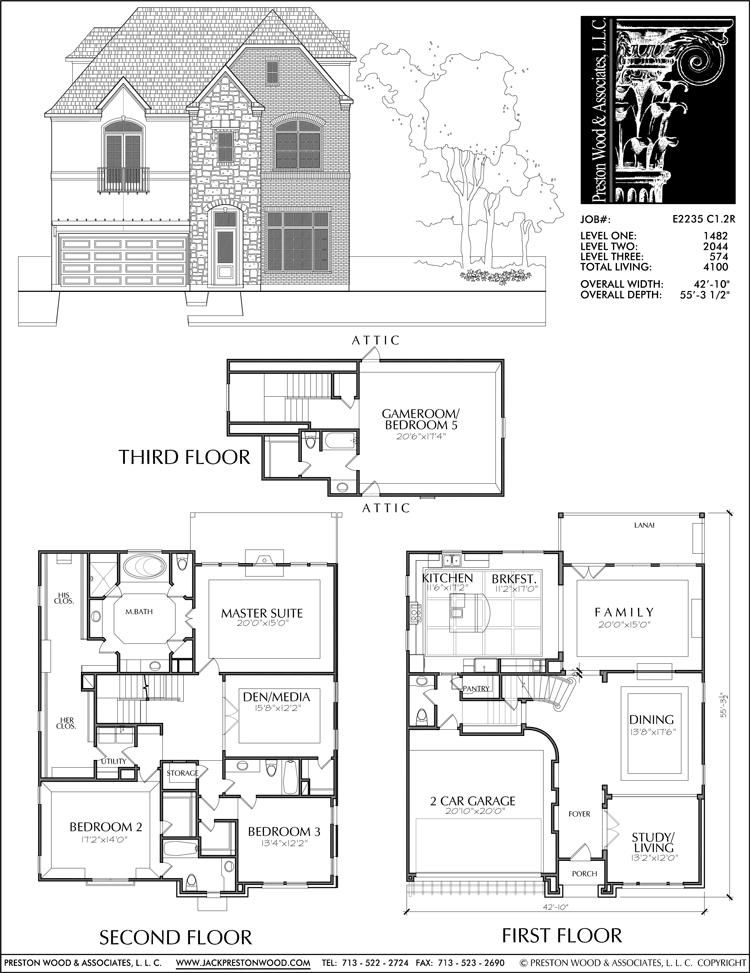 2 1 2 Story Urban House Plan E2235 C1 2 House Plans New House Plans Floor Plans