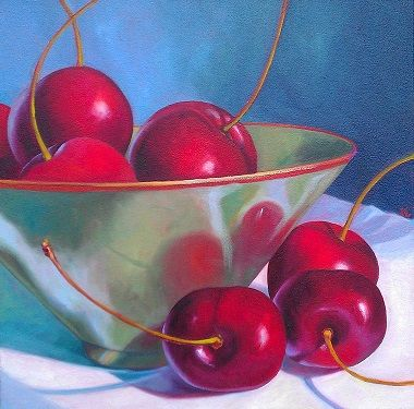 Farm Cherries with Green Bowl By Katie Trinkle Legge - (Oil) - SOLD