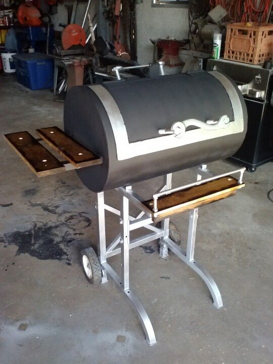 Home Made Charcoal Grill Built From A Tank Shell With Charred Edged Wood Finish Handle Is Made From An Antique Wrench Diy Grill Outdoor Cooking Wood Finish