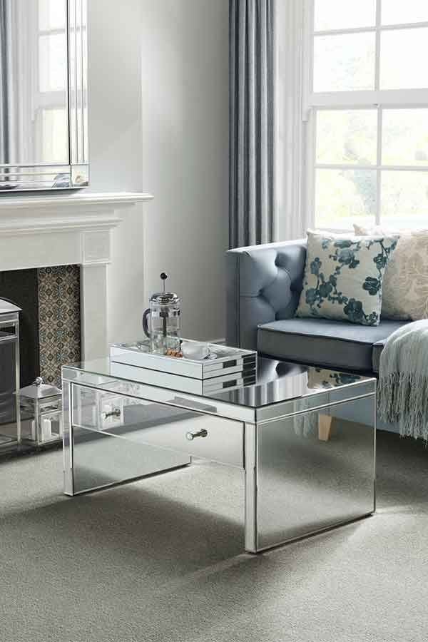 Mirrored Bedside Table With Drawers: Venetian Mirrored Coffee Table With Single Drawer