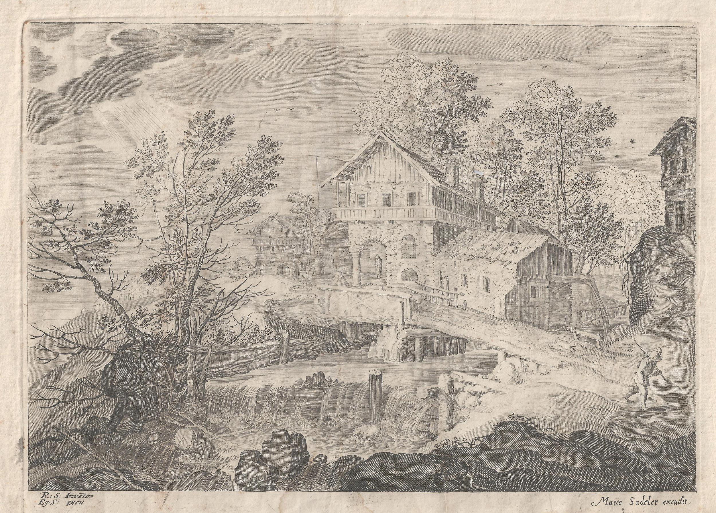 Paisaje fluvial de Rafael Sadeler. #Grabado de la Escuela Holandesa ...