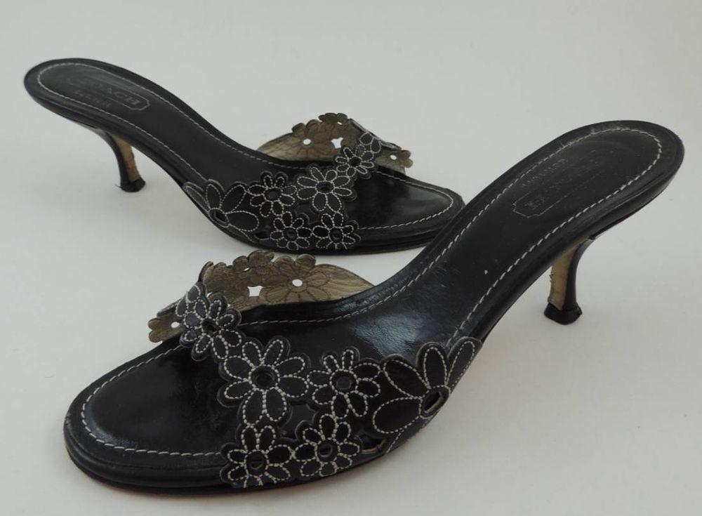 b98128ced4d Coach Clarissa Black Leather Floral Open Toe Kitten Heels Mules Sandals 6  1 2 M  Coach  Mules