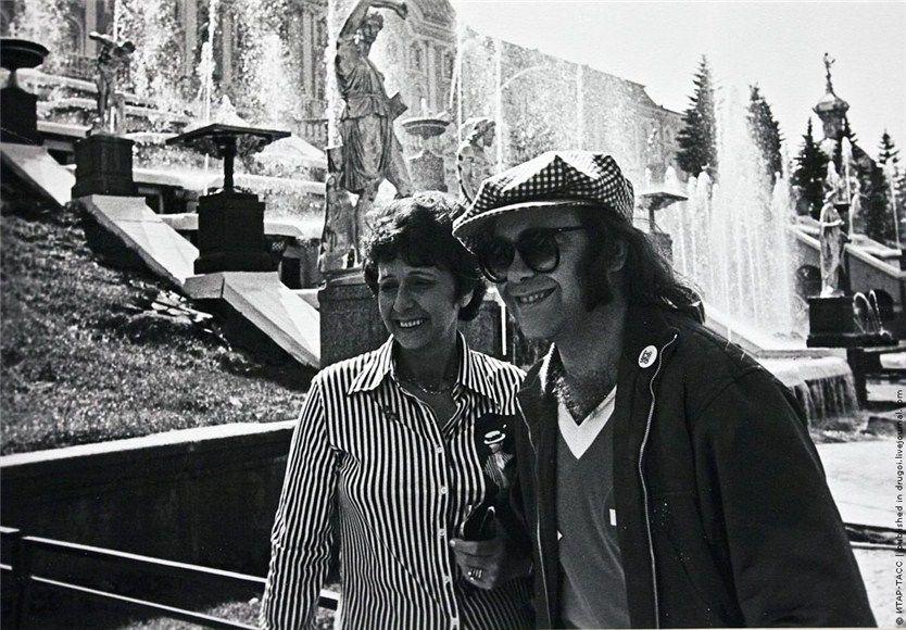 Elton John with his mom, Sheila. USSR, Peterhof palace near Saint-Petersburg, 1979.    http://semioticapocalypse.tumblr.com