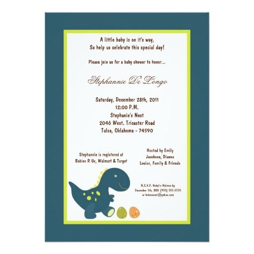 5x7 Dinosaur Baby Shower Invitation