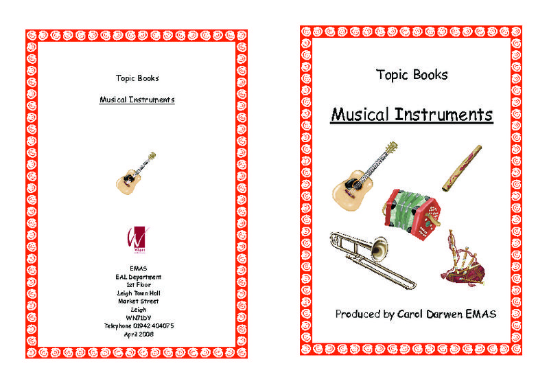 Topic Books Musical Instruments Worksheet Lesson Planet Music