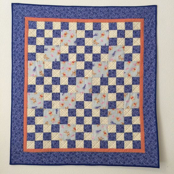 Handmade baby quilt, Baby quilt pieced, Baby boy quilt, Girl quilt ... : baby boy quilts for sale - Adamdwight.com