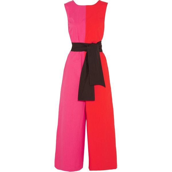 2ae2df9b72 Isa Arfen Color-block stretch-cotton poplin jumpsuit ( 268) ❤ liked on  Polyvore featuring jumpsuits