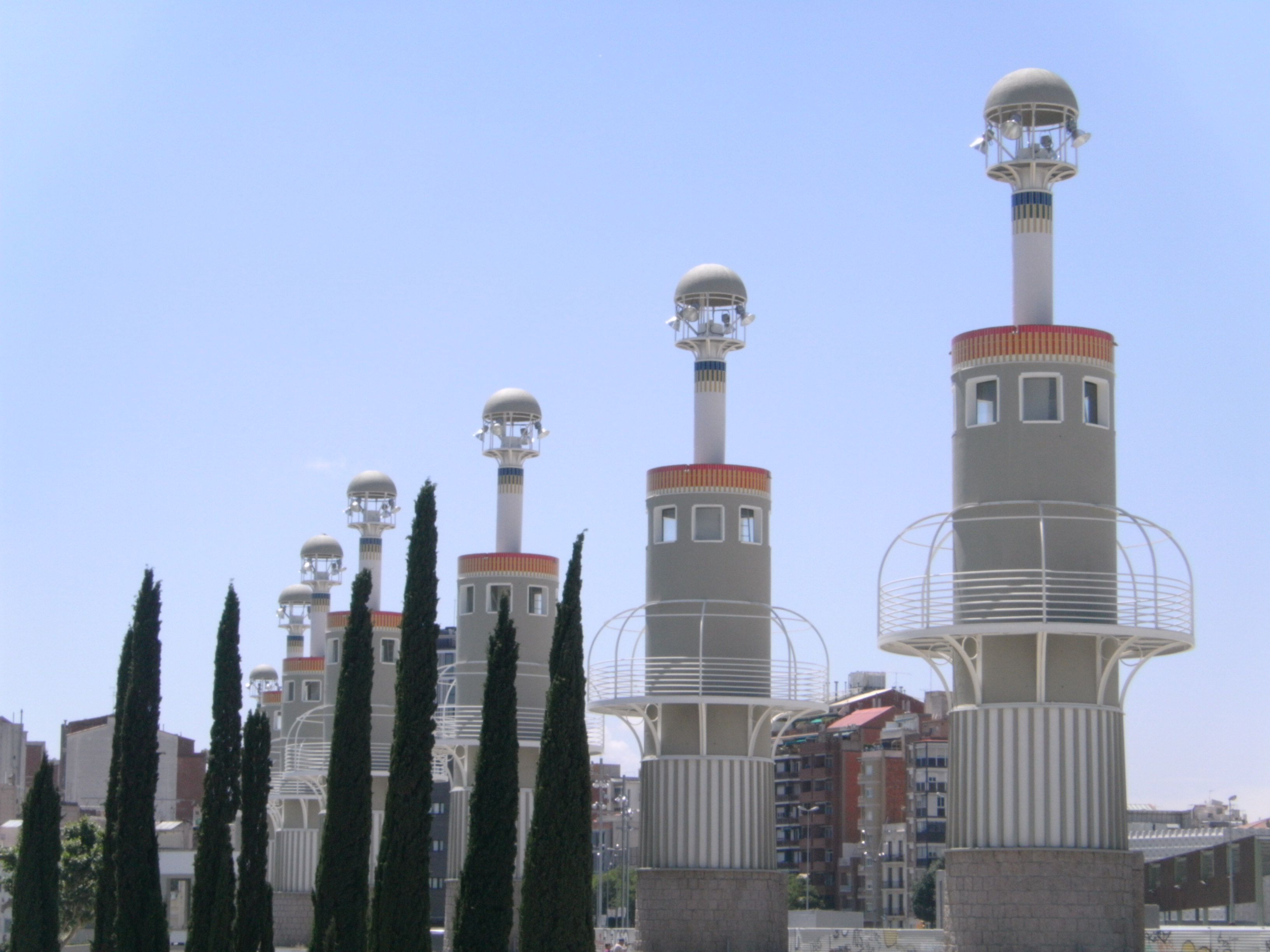 Even the lighthouses are cool looking in Barcelona, Spain