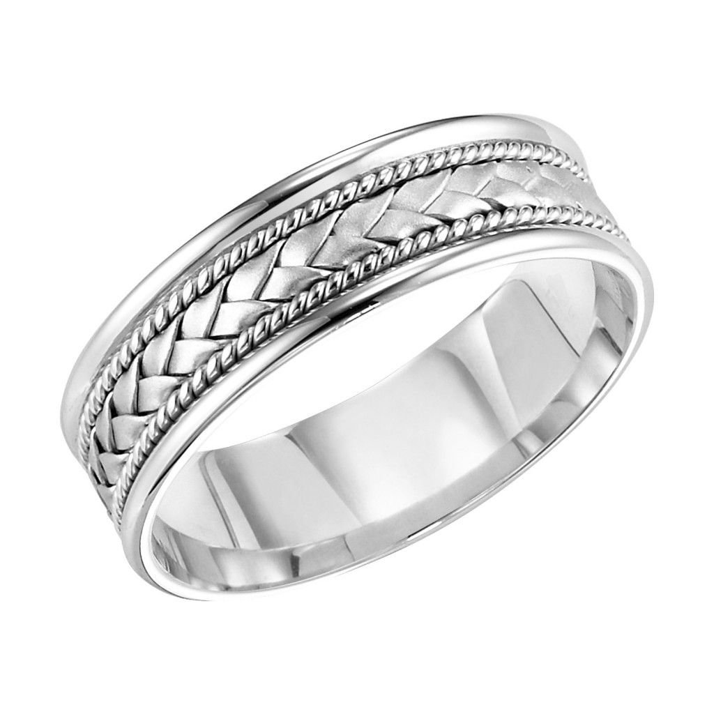 Comfort Fit Wedding Band With Woven Insert Charles Schwartz Son Comfort Fit Wedding Band Braided Wedding Band Wedding Bands