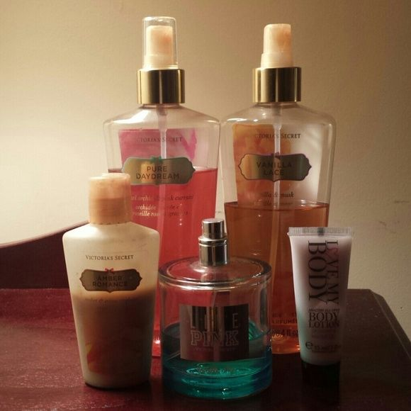 Bundle of  Victoria Secret  fragrances. Pure Daydream & Vanilla Lace mists.  Amber Rose lotion.  Love My Body mini lotion and Live Pink Vanilla Sky perfume. NOT mist. The perfume alone cost $32 and there's almost exactly half there. Please see pics,  close-ups of exactly how much is in each bottle. This is an absolute steal! Thanks for browsing! Victoria's Secret Accessories