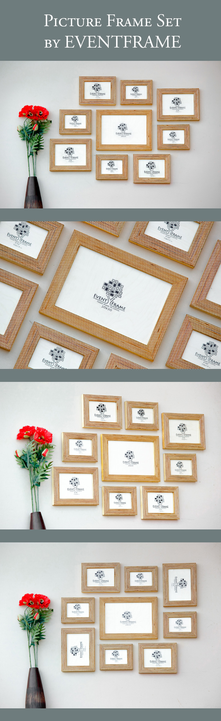 9 picture frame set rustic photo frame collage natural wood stripy plywood handmade chose your color sizes