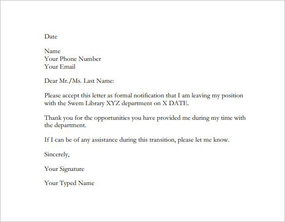 resignation letter format ,example of resignation letter - sample resignation letters