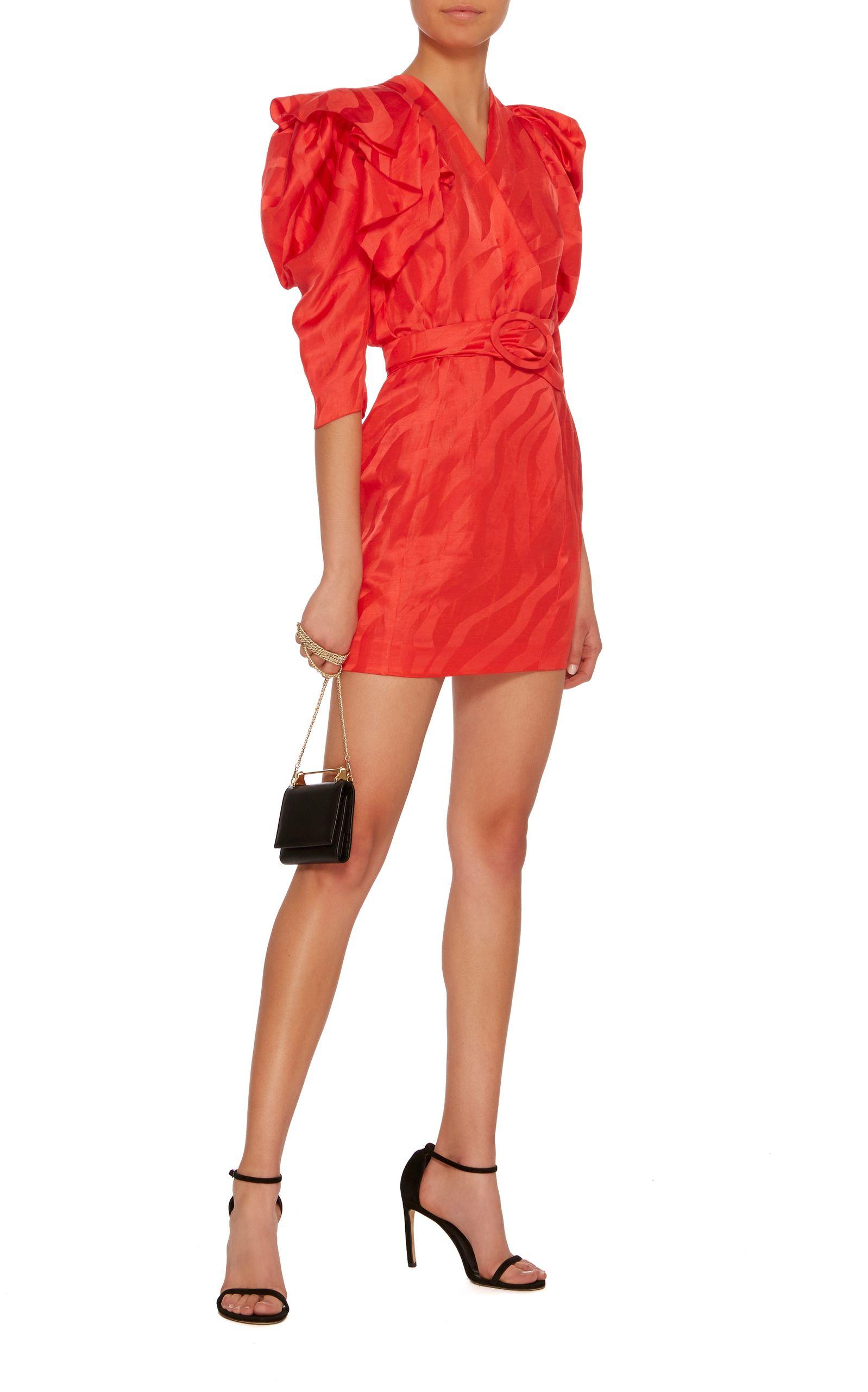 e694ec2661 Carmen March Puff-Sleeve Linen-Blend Mini Dress