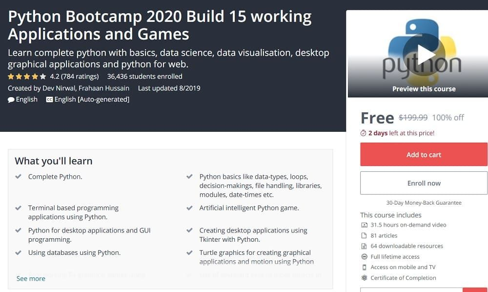 Python Bootcamp 2020 Build 15 Working Applications And Games Bootcamp Data Science Data Visualization