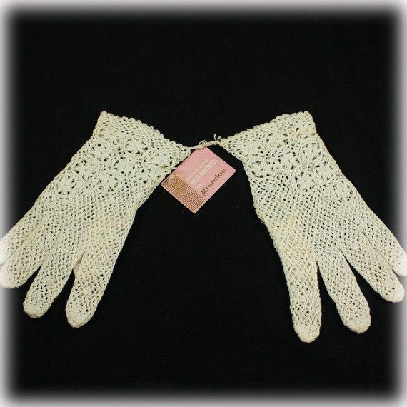 Crochet Gloves, Grandoe Gloves, Ladies Gloves, Ecru, Beige, Neutral