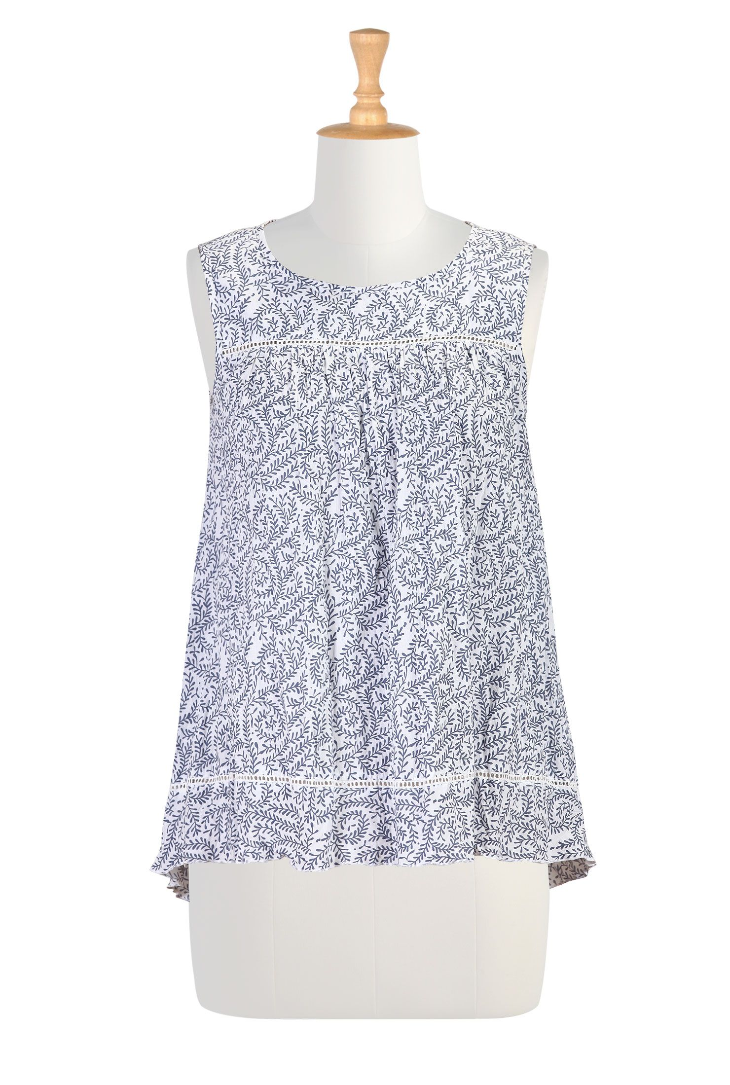 Hand Crinkled Cotton Tops, Cotton Print Summer Tops Womens fashion clothes - Embellished Tops - Embellishments, Embroidery, Applique, Floral...