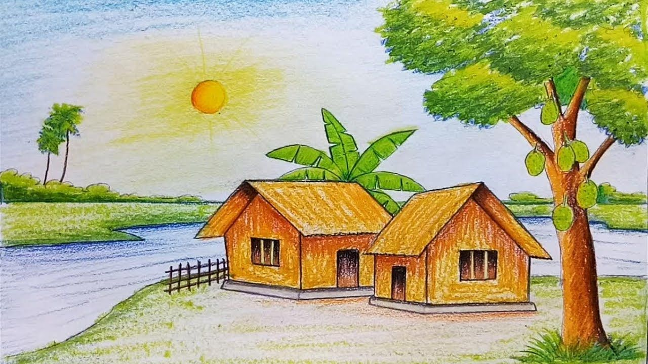 I Used Faber Castell Oil Pastel Staedtler Water Colour Pencil In This Drawing Click Subscribe To Wa Easy Scenery Drawing Colorful Drawings Drawing Scenery