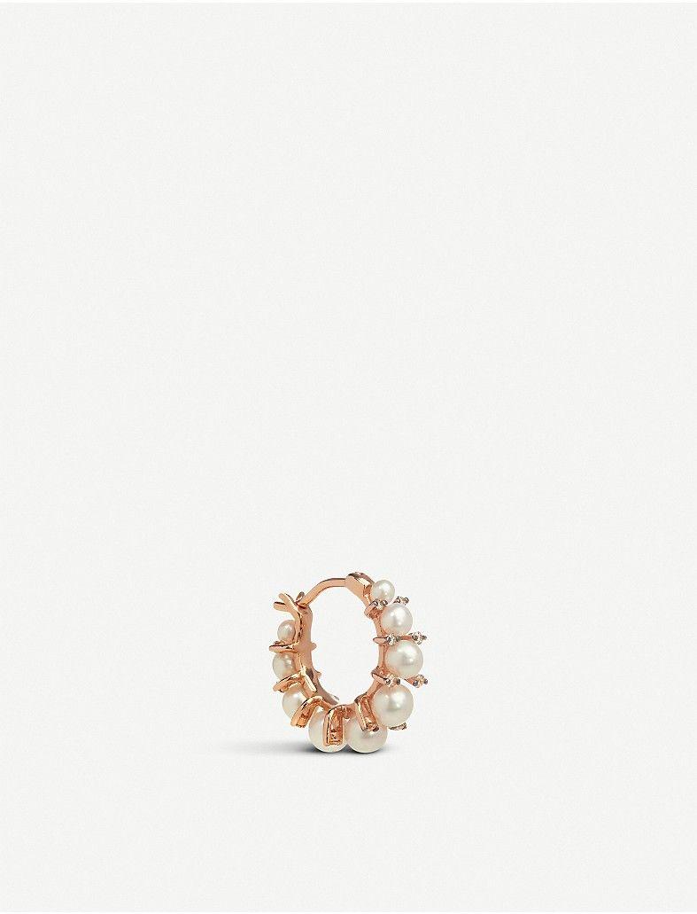 diamonds pearls 18ct rose gold single hoop earring earrings Diamond Necklace and Earrings annoushka diamonds pearls 18ct rose gold single hoop earring
