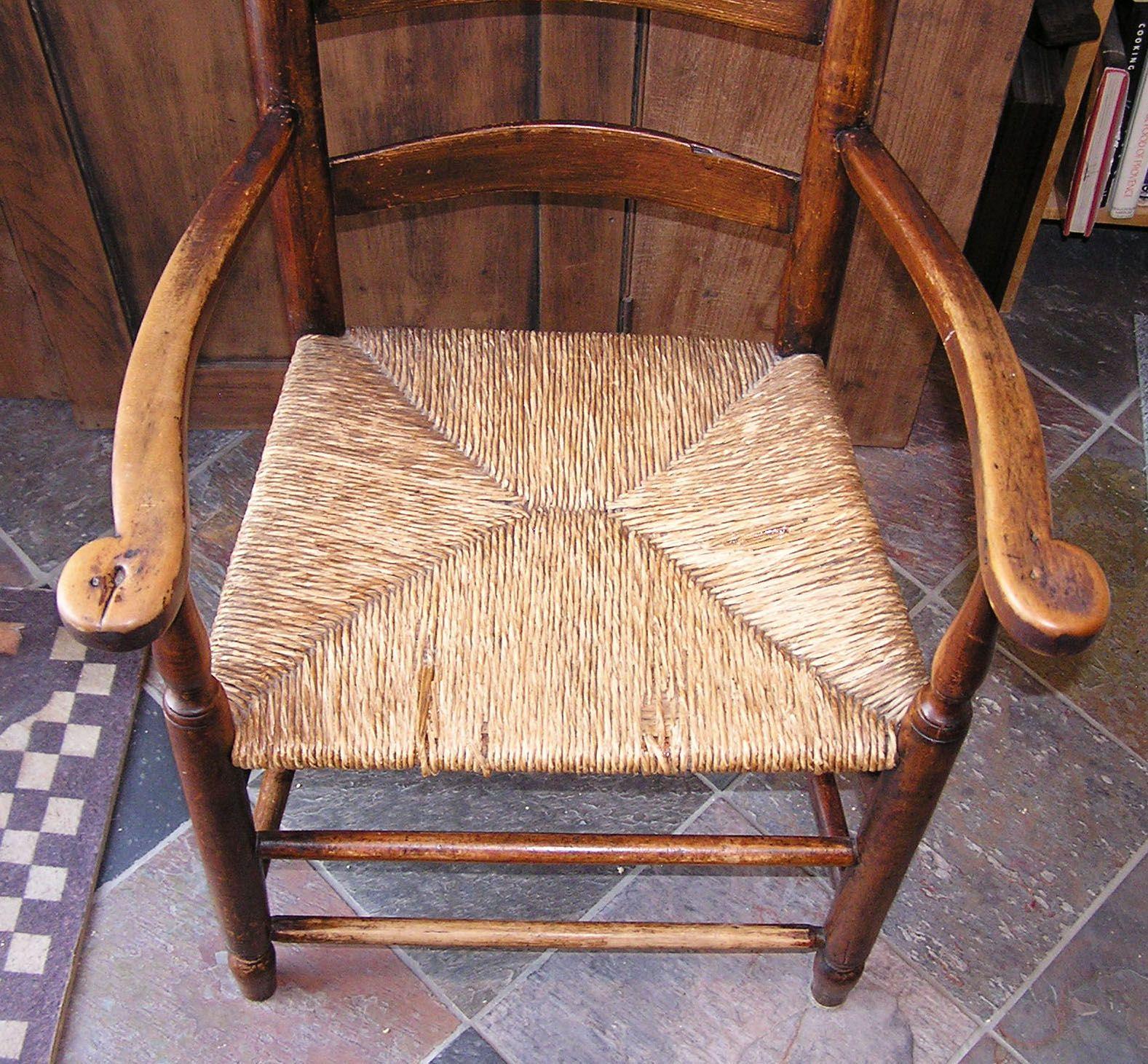 Massachusetts Shaker Style Ladderback Rush Seat Chair Furniture