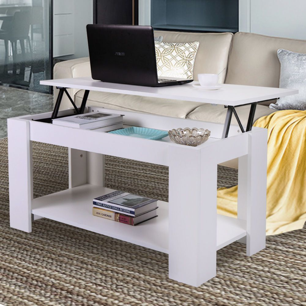 White coffee table lifttop storage shelves wood living room
