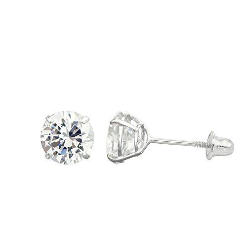 10k White Gold 286 Cttw Round Cubic Zirconia Cz Double Basket Screw Back Stud Earrings Details Can Be Fo Stud Earrings Fashion Earrings Studs Vogue Jewelry